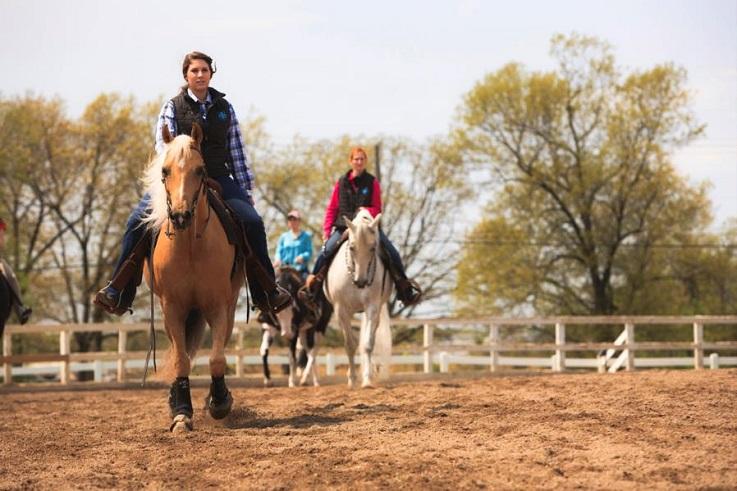 Equestrian studies students practice western.