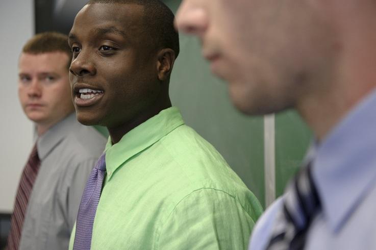 Business students learn salesmanship skills