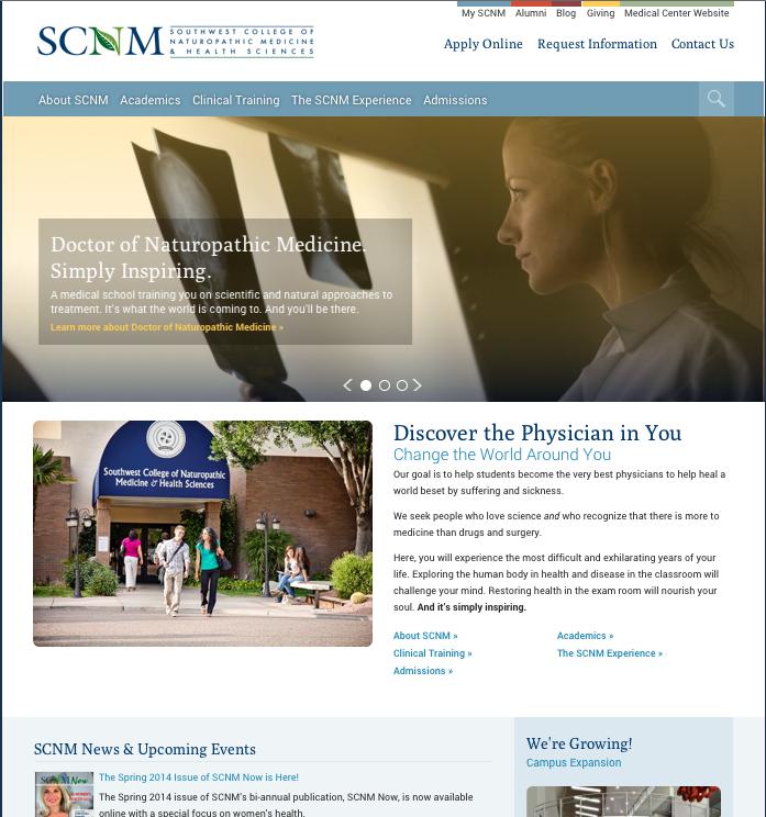 SCNM medical school website redesign