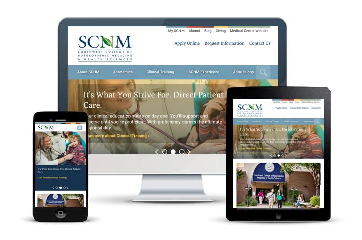 SCNM medical school responsive website redesign