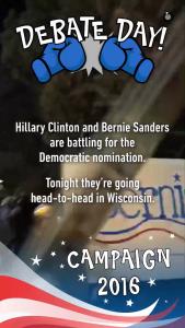 A screen shot from tonight's Democratic debate story.